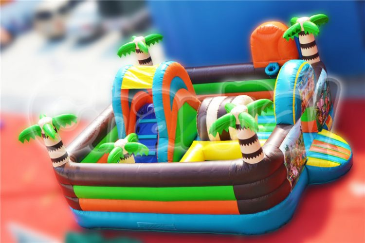 jungle themed inflatable playground with games