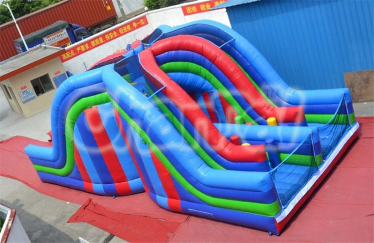 inflatable extreme dual lane slide obstacle