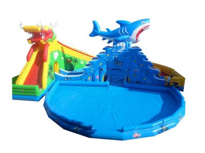 chinese dragon and shark big inflatable pool with slide