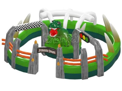 Jurassic park inflatable race track for karts