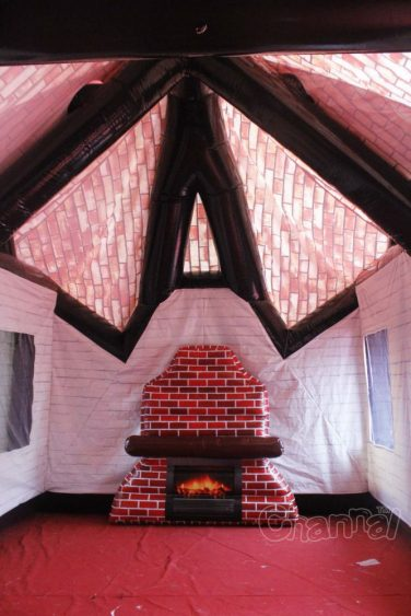 inflatable fireplace inside inflatable pub