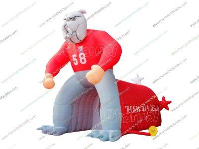 giant bulldog inflatable football tunnel