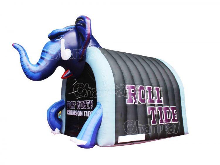 elephant inflatable football mascot tunnel