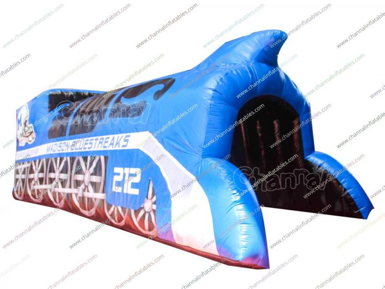 blue streak inflatable football tunnel