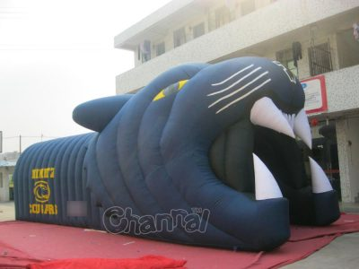 black inflatable football panther tunnel