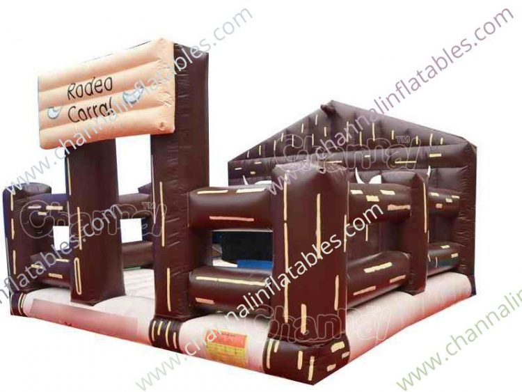 inflatable rodeo bull arena with bull riding machine and bounce house