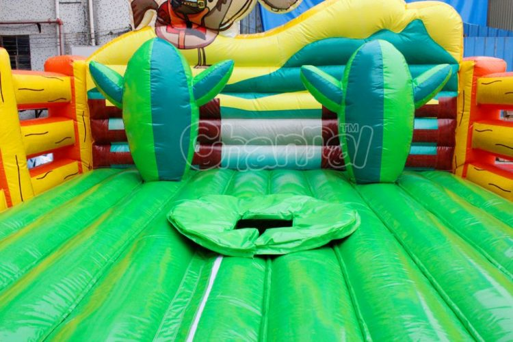 installation hole on inflatable bed for bull riding machine