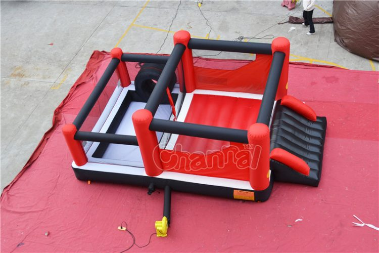 red nylon inflatable bouncer