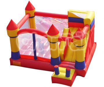 yellow red castle inflatable nylon combo