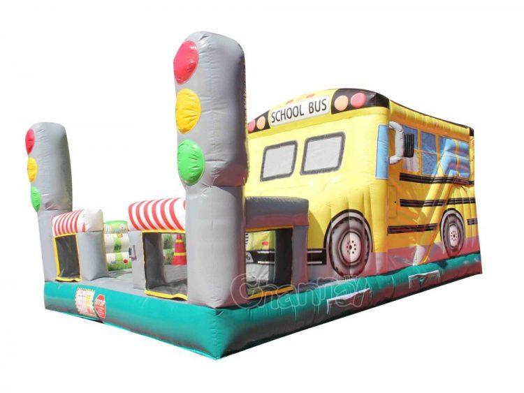 school bus inflatable combo for kids