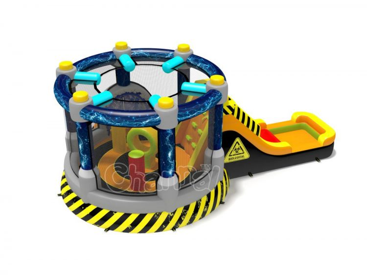 teleportation machine bounce house combo with slide for kids