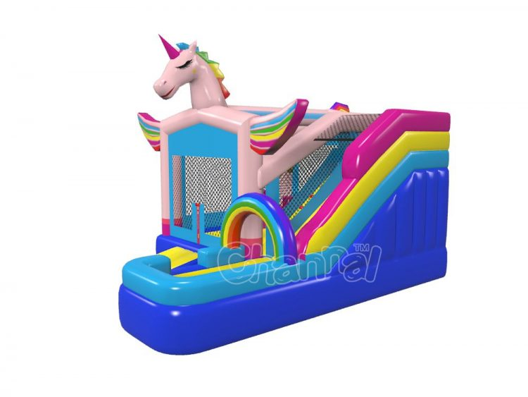 unicorn bounce house combo with water slide for kids