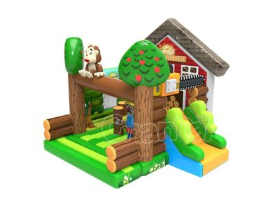 lumberjack inflatable bounce house with slide