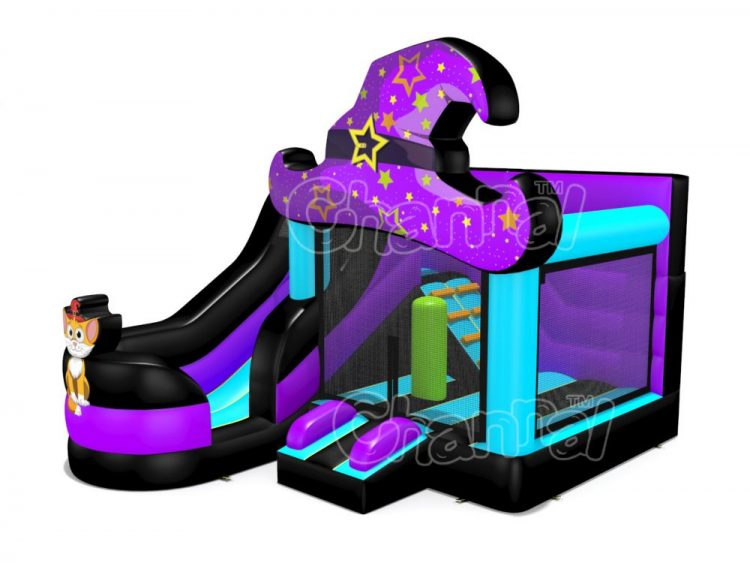 wizard hat bounce house with slide