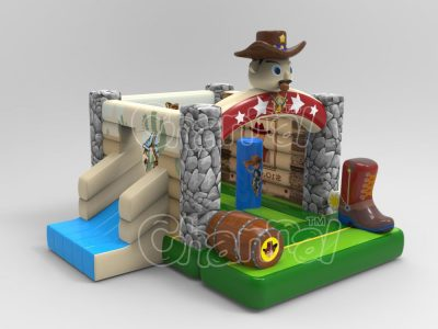 sheriff bounce house with slide