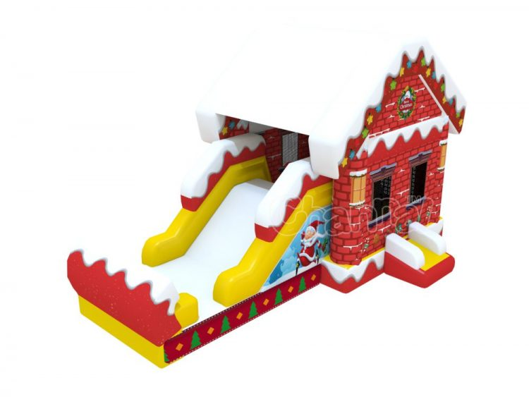 Xmas house inflatable combo with slide for sale