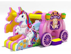 unicorn princess carriage inflatable combo