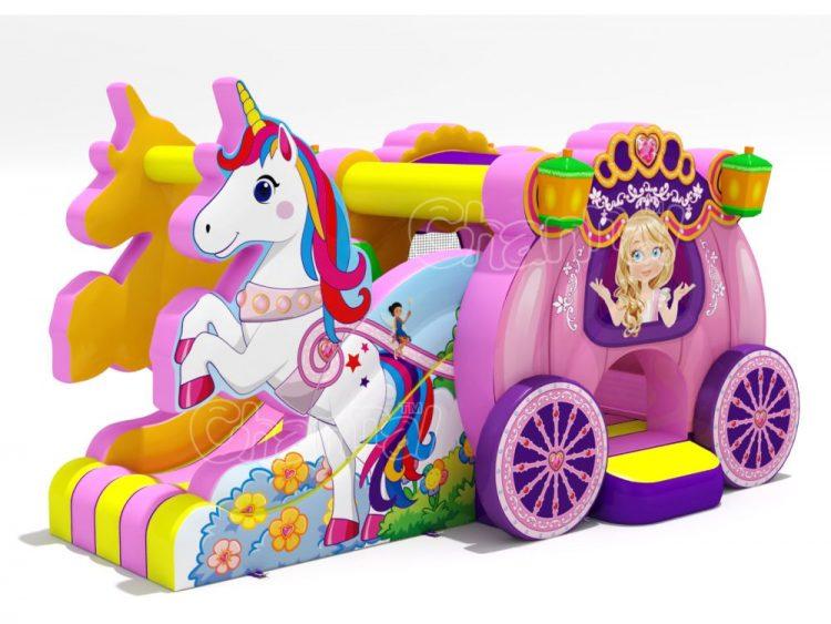 unicorn princess carriage inflatable combo