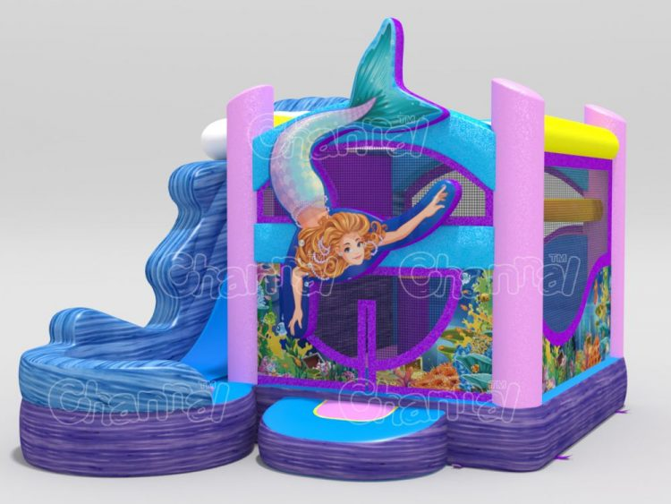 mermaid themed inflatable bounce house with slide