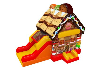candy house inflatable bounce house combo with slide