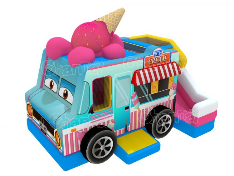 ice cream van inflatable bounce house with slide