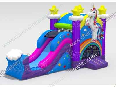 unicorn stars inflatable combo