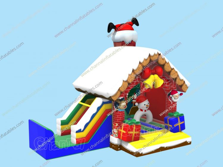 santa stuck in chimney inflatable combo