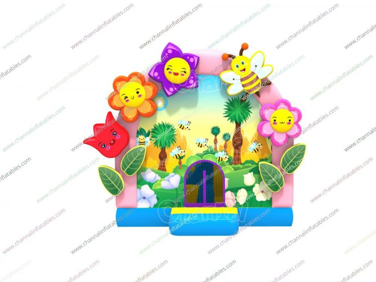 bees and flowers themed inflatable bounce house