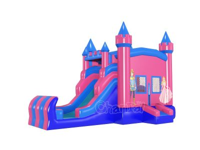 blue pink prince princess inflatable castle