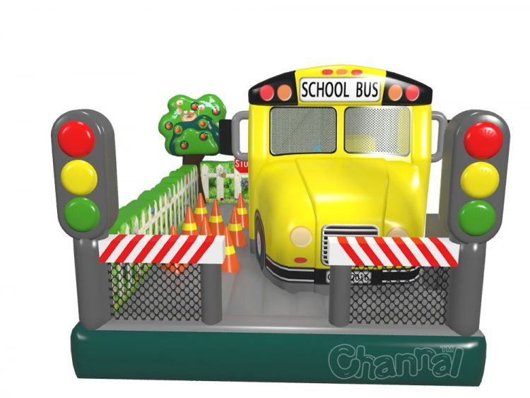 inflatable school bus moonwalk with obstacles