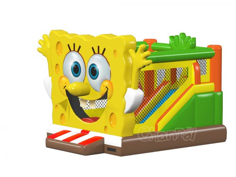 commercial inflatable spongebob bounce house combo with slide