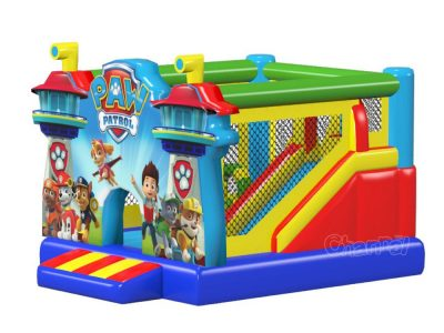 commercial inflatable paw patrol jumper with slide with banner