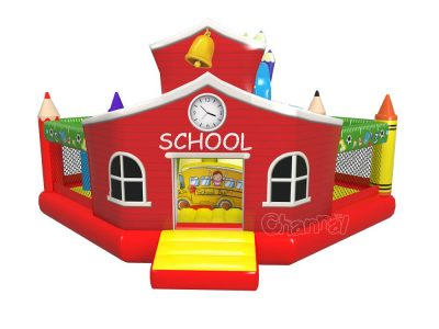 litter red school house inflatable bounce house