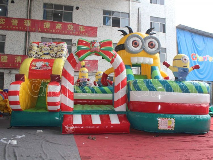 minion Christmas sleigh inflatable course playground for kids