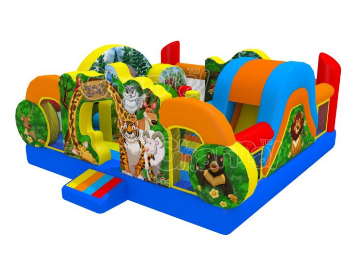 wild zoo inflatable playground for little kids