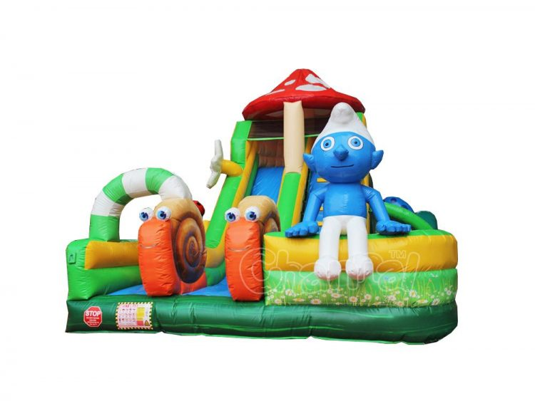 smurfs mushroom house inflatable obstacle