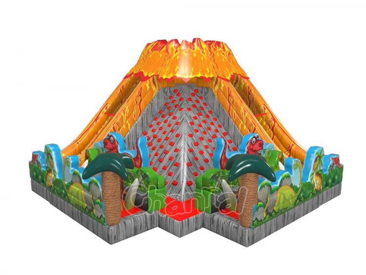 commercial jurassic volcano inflatable obstacle course for sale