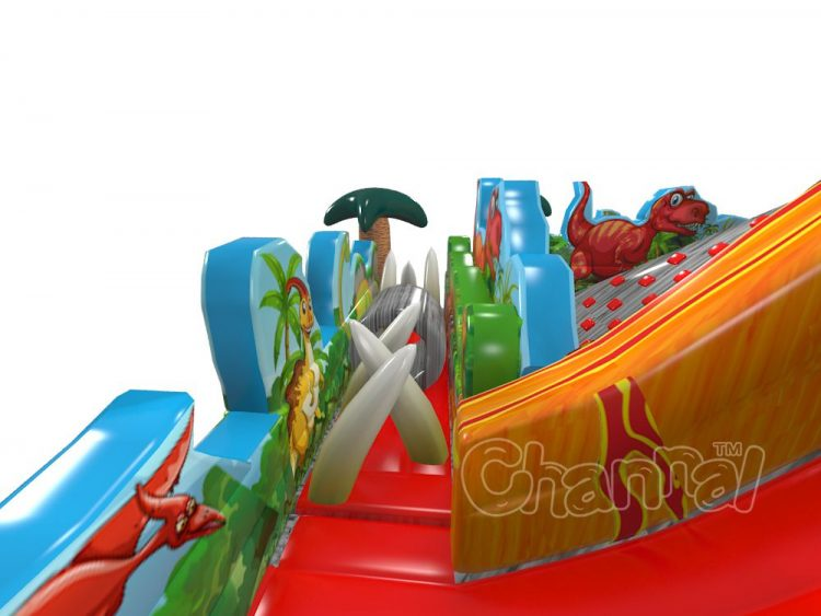 jurassic volcano inflatable obstacle course with dinosaur tooth