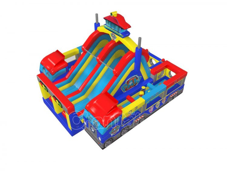 large paw patrol vehicle inflatable obstacle course for kids