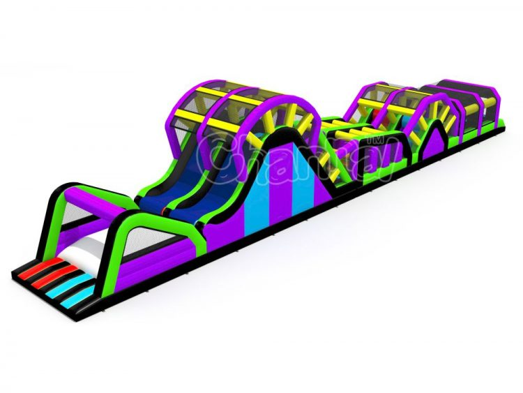 inflatable obstacle course with fly slide and inflated bag