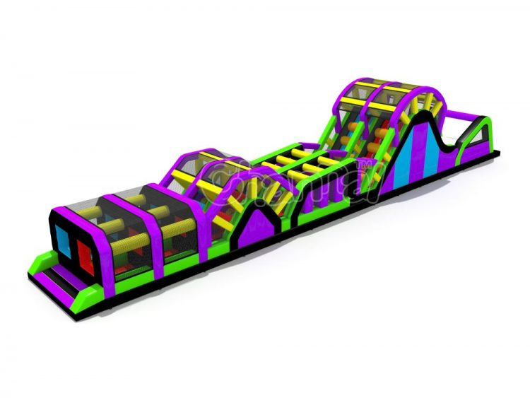 inflatable obstacle course with slide and fly