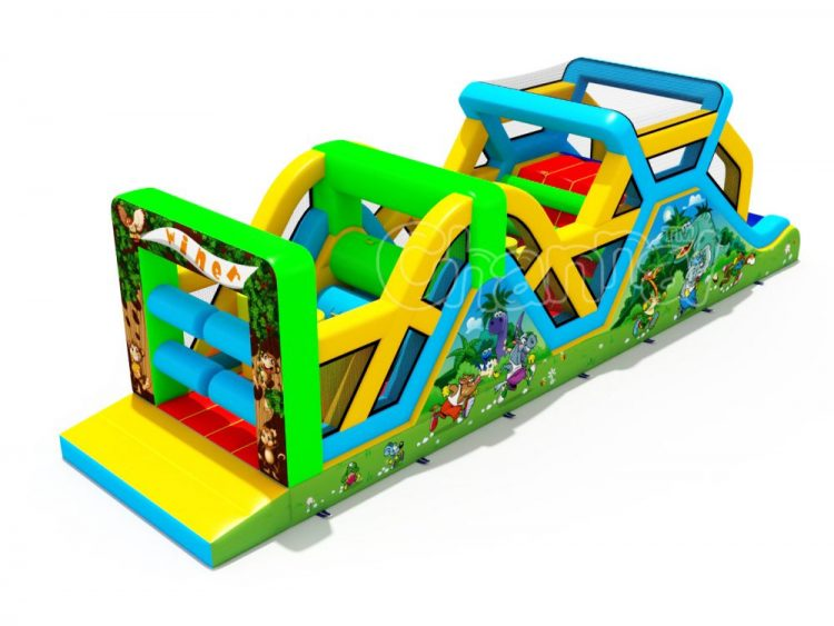 animals race inflatable obstacle course for sale