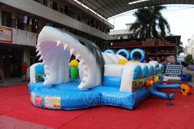 inflatable shark mouth entrance and exit
