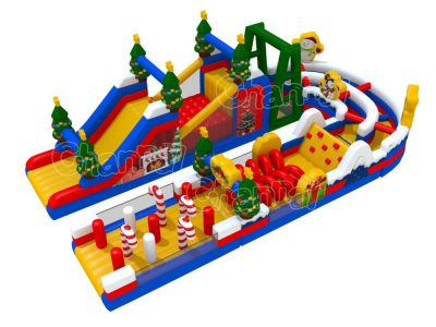 Christmas themed inflatable obstacle course
