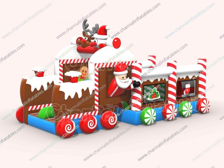 Xmas train inflatable obstacle course