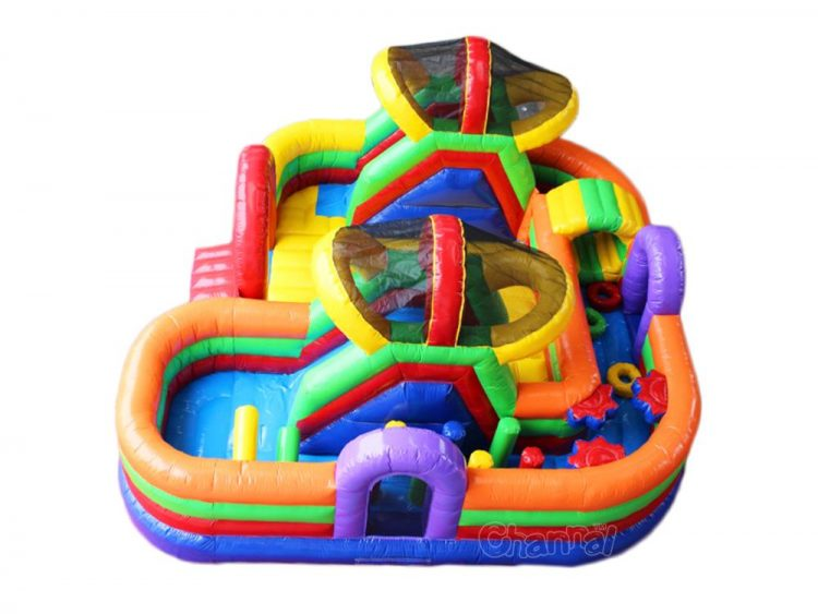 colorful inflatable obstacle course