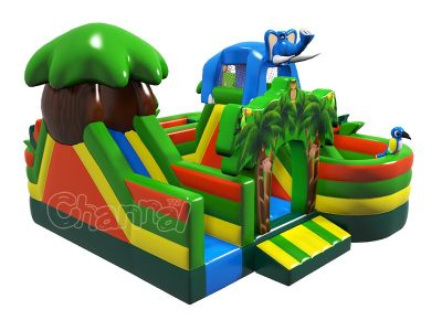 jungle animals inflatable obstacle