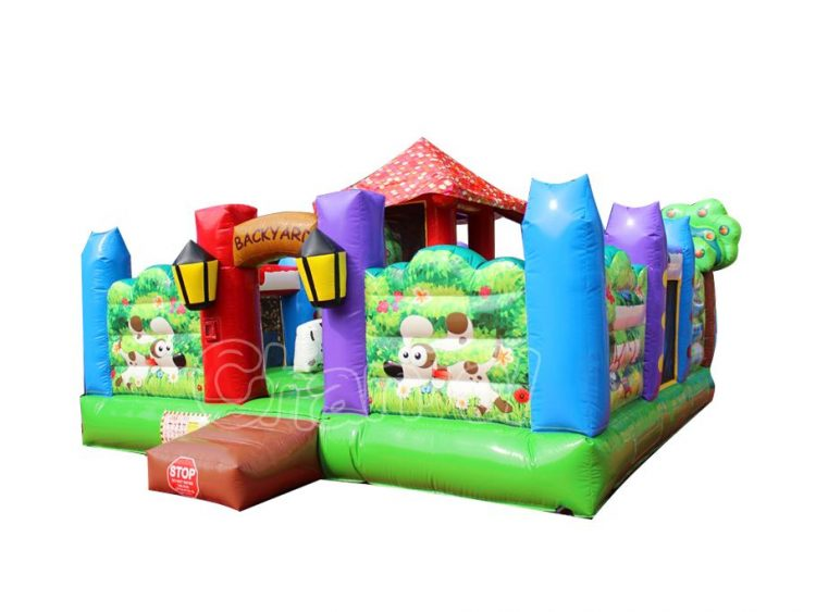 backyard inflatable obstacle course for toddlers