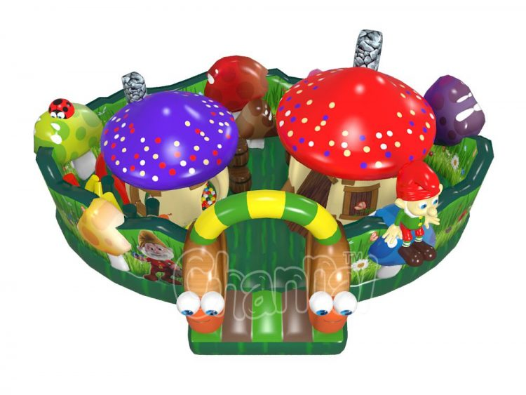 mushroom house inflatable obstacle course