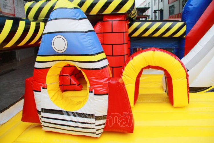inflatable rocket obstacle hole